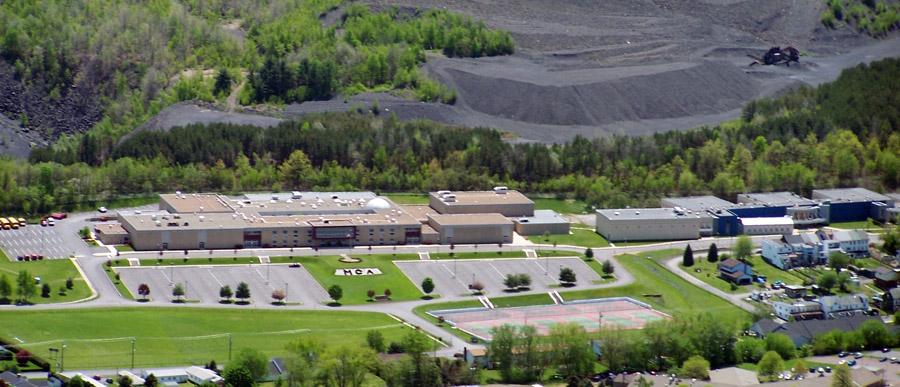 Aerial shot of Mount Carmel Area School District main campus